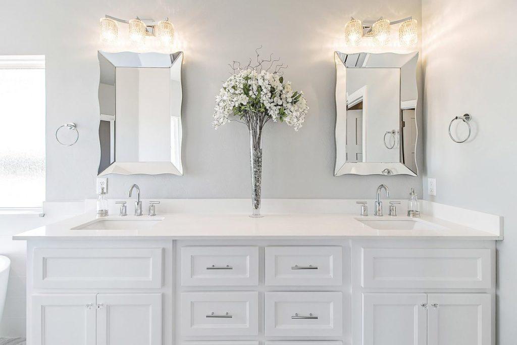 White vanity with white quartzite countertop