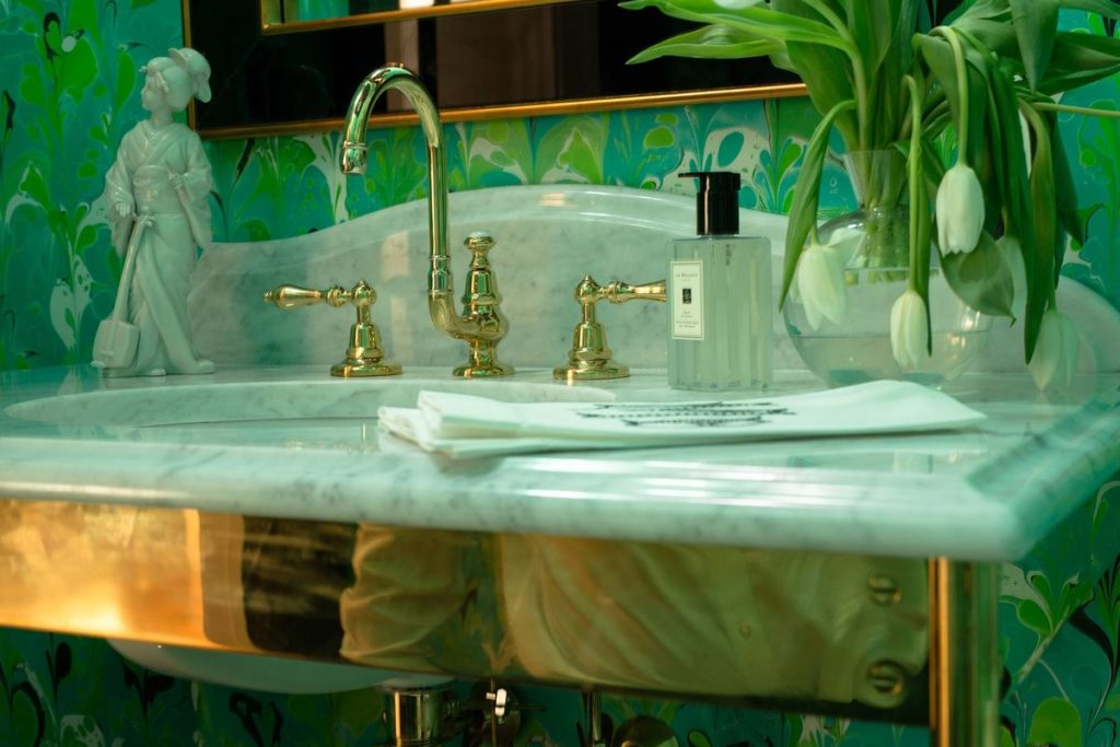 Gold and marble art deco vanity
