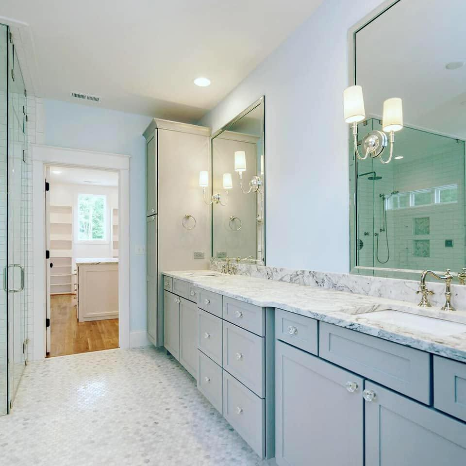 Light gray vanity with marble countertop