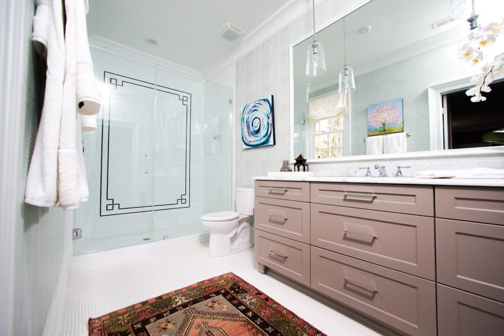 Boho chic master bathroom with marble topped vanity