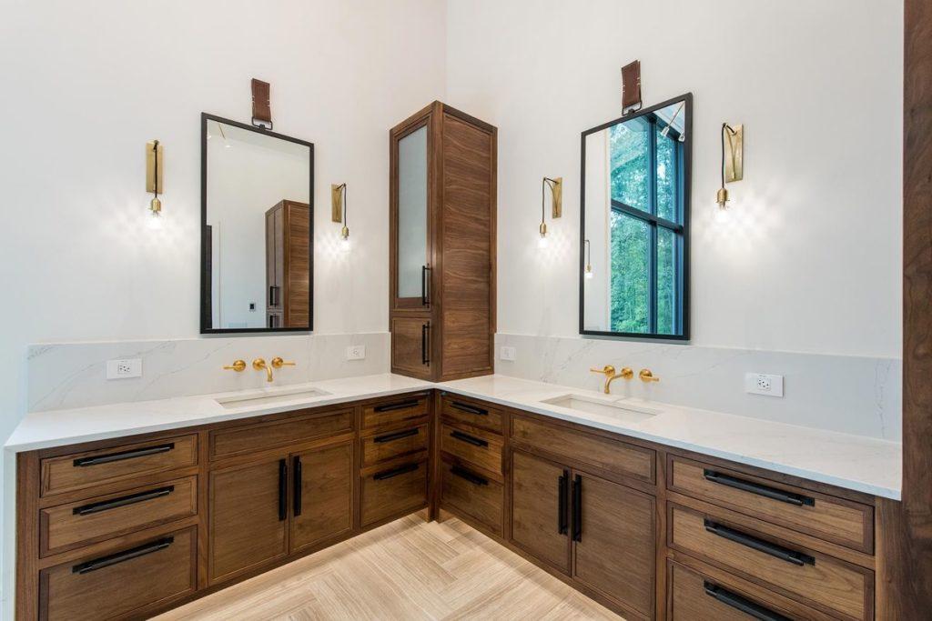 Mid century modern wooden vanities with white quartz countertops
