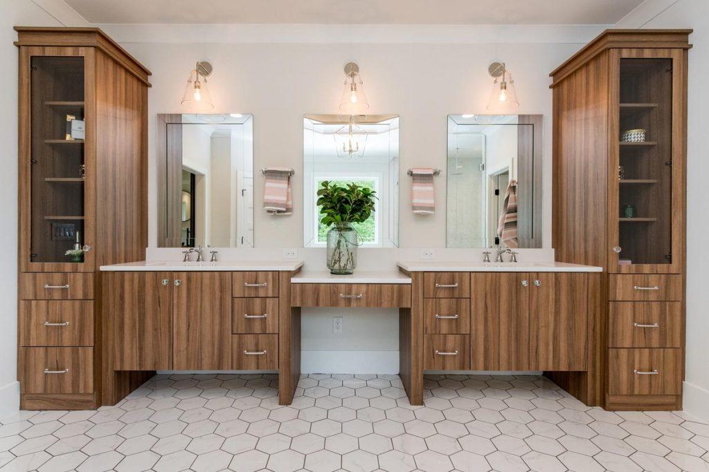 His and Hers Wooden Vanities With Quartz Countertops