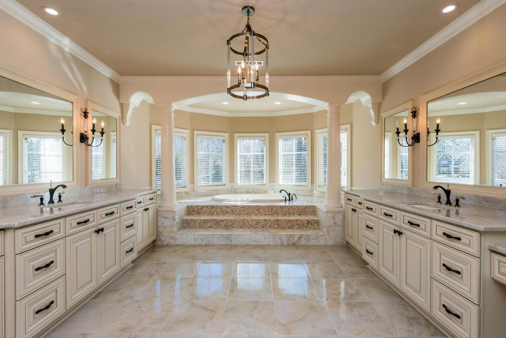 Marble master bathroom with duel vanities