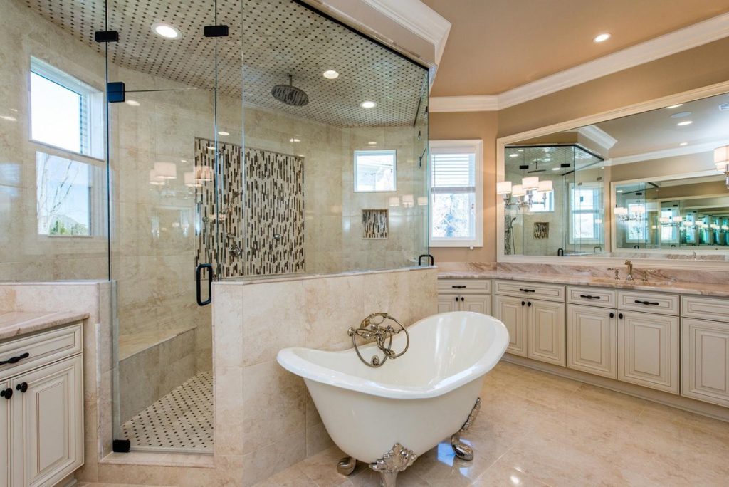 Free standing bath with walk in shower