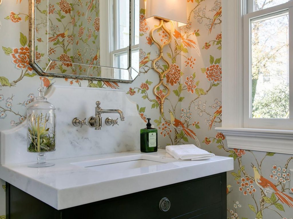 Beautiful art deco vanity with marble countertop and silver hardware