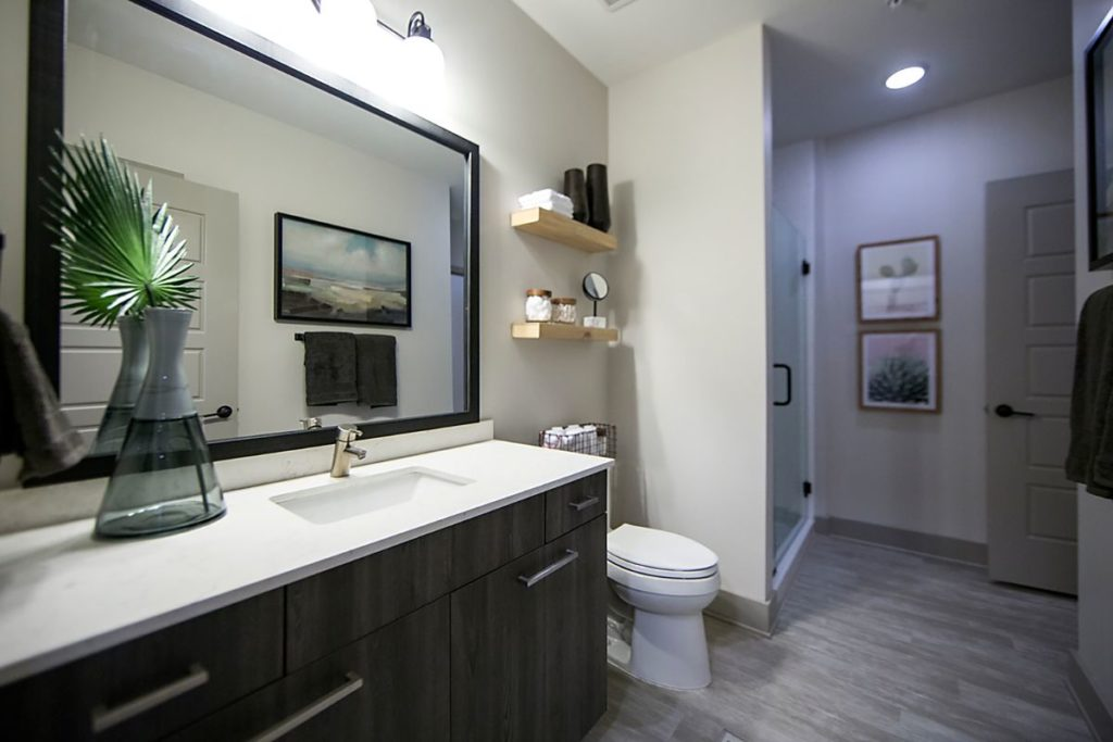 Modern bathroom vanity with brushed mahogany vanity with white soapstone countertop