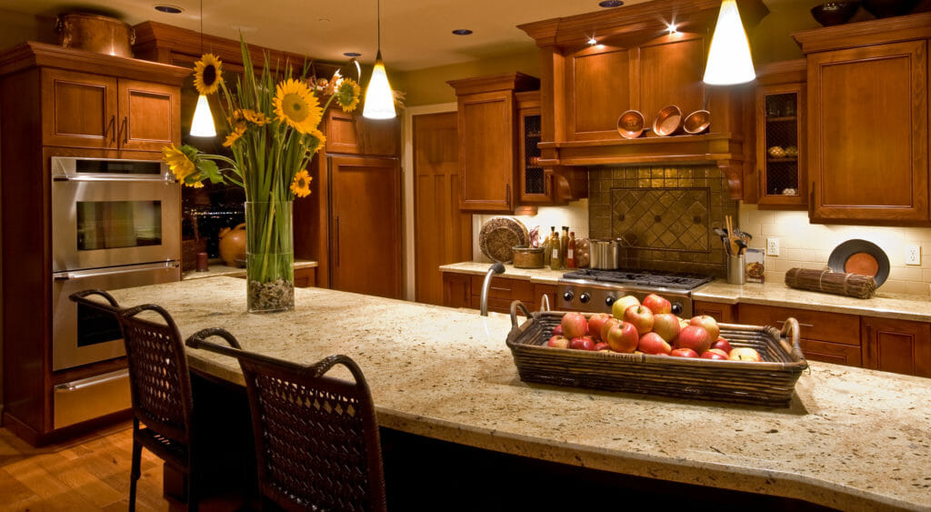 Gorgeous Recycled Glass Countertops & Glass Tile Design from Absolute Stone
